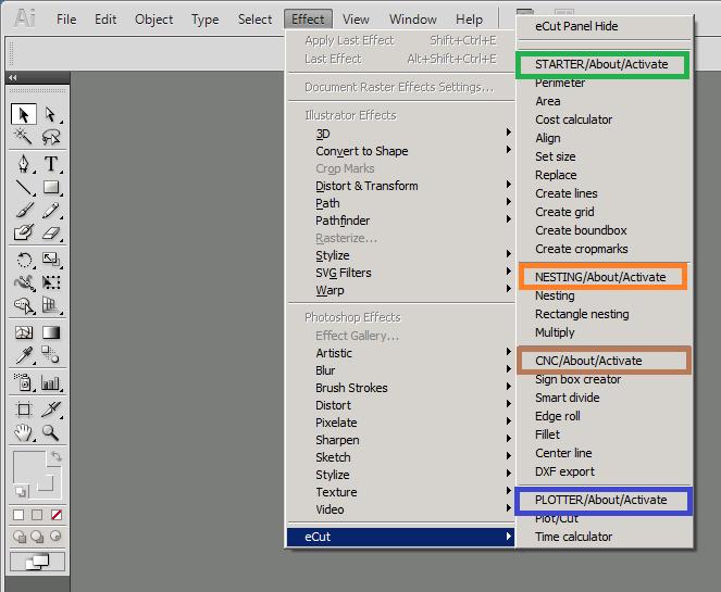 eCut Adobe Illustrator plugins: nesting, plotting, cnc